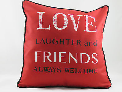 Red 'LOVE LAUGHTER And FRIENDS ALWAYS WELCOME' Evans Lichfield Cushion Cover • 6.99£
