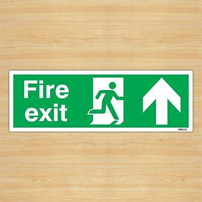 British Standard Fire Exit Direction Sign Safety Sticker (45x15cm) By Stika.co • 8.99£