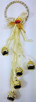 Jingle Bells Gold Festive Christmas Door Hanger Decoration 5 Bells (54439) • 2.30£