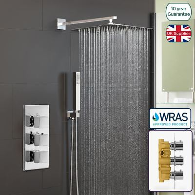 Orta Square Concealed Thermostatic Mixer Valve Hand Held 300mm Shower Head Set • 139.99£