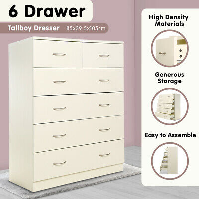 AU179 • Buy New Tallboy Dresser 6 Chest Of Drawers Table Cabinet Bedroom Storage White