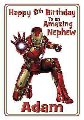 Iron Man Avengers Personalised A5 Birthday Card Son Brother Nephew Grandson Name • 2.95£