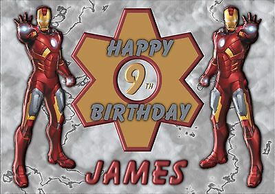 Iron Man Avengers Personalised A5 Birthday Card Son Grandson Brother Name Age • 2.95£