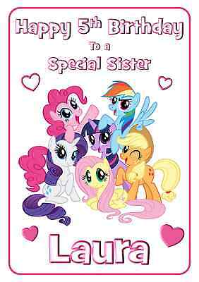 My Little Pony Personalised Printed A5 Birthday Card ANY Age Relation Name • 2.99£