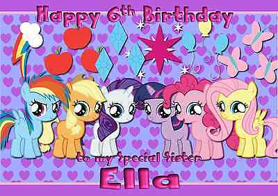My Little Pony A5 Personalised Birthday Card Daughter Sister Niece Name Age • 2.99£