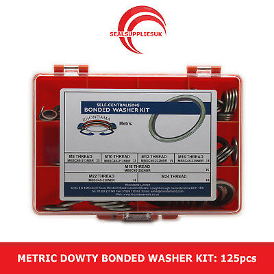 £24.50 • Buy Metric Dowty Bonded Seal/Washer Kit Self Centering - M8 To M24 Thread - 125pcs