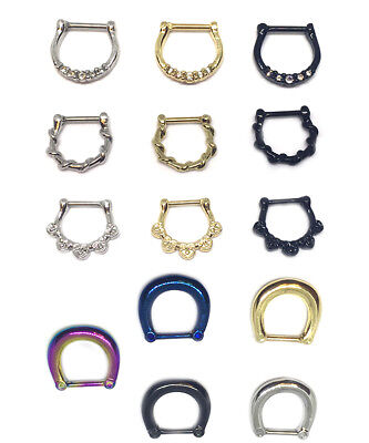 £2.99 • Buy Hinged Clicker Septum Ring Hoop Tragus Nose Ear Ring  Helix Ring