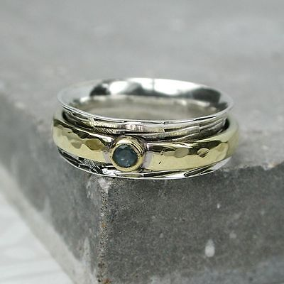 Bnwt .925 Sterling Silver Spinning Ring With Blue Topaz - Order Any Size L-t • 17.49£