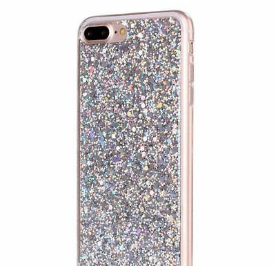 AU10.17 • Buy  For IPhone 7+ / 8+ Plus - HARD TPU RUBBER GEL CASE SILVER SHINY GLITTER SEQUIN