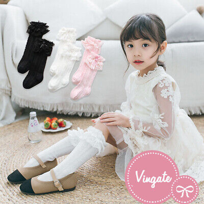 Baby Girl Children Kids Knee High Socks With Bow & Frilly Lace 9 Months 6 Years • 3.38£
