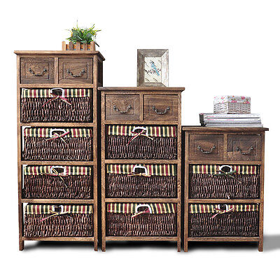 10% OFF Wooden Frame Wicker Basket Drawer Storage Bed Bathroom Organize G140 • 352£