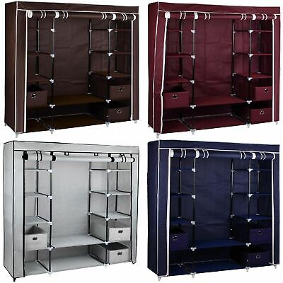£28.99 • Buy Large Fabric Canvas Wardrobe With Hanging Rail Shelving Clothes Storage Cupboard