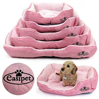 Pink Dog Bed Pet Cat Puppy Faux Fur Fleece Deluxe Cushion S M L XL XXL Easipet • 14.99£