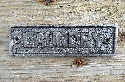 Cast Iron Vintage Style LAUNDRY Door Sign Wall Raw Iron AL72 • 7.99£