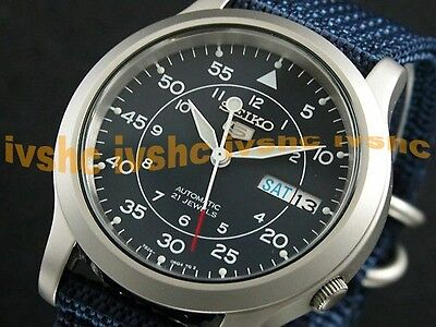 $ CDN117.47 • Buy SEIKO 5 SNK807 SNK807K2 Military Army Navy Automatic Nylon Free Ship !
