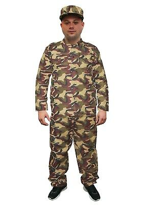 Mens Adult Army Soldier Costume Reporting Boy Uniform Fancy Dress Outfit Medium • 14.99£