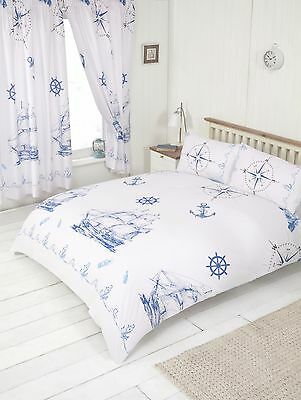 King Size Duvet Cover Set Nautical Ship Sea Rope White Marine Anchor Compass • 19.99£