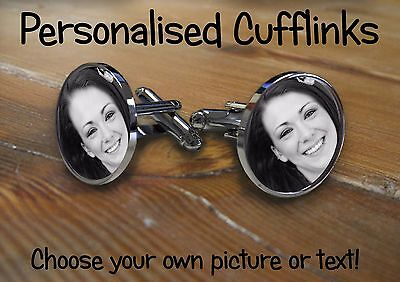 £7.99 • Buy Cufflinks Round Personalised With Any Photo,image, Text. Wedding Birthday Gift