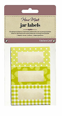 Kitchen Craft JAR LABELS Pk Of 30 Green Self Adhesive Jam Jar Pot GIFT Tag Label • 2.95£