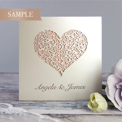 Heart Lace Laser Cut Handmade Luxury Wedding Day Invitations * SAMPLE ONLY* • 2.50£