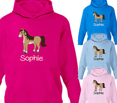 Childrens Personalised Horse Riding Hoodie Girls Pony Hoody Boys All Sizes D8 • 19.95£