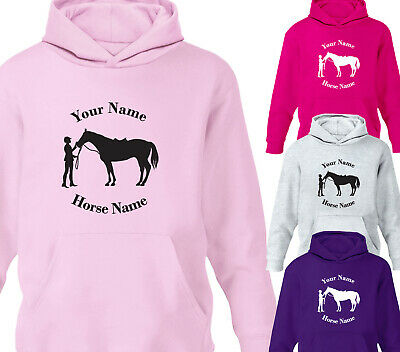 Childrens Personalised Horse Riding Hoodie Girls Boys Pony Rider Hoody Gift • 15.75£