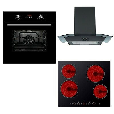 Cookology Black Electric Fan Oven, Touch Ceramic Hob & Curved Cooker Hood Pack • 424.99£