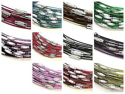 5 Pcs Coloured Memory Wire Necklaces 18   Clasp Choker Necklace Jewellery ML • 1.79£