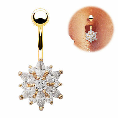 £3.49 • Buy Gold Rose Gold Belly Bars Flower Crystal Navel Bar Button Ring Body Jewellery