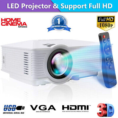 AU98.95 • Buy Portable 1080P 7000 Lumens HD LED Multimedia Projector Home Cinema Theater HDMI