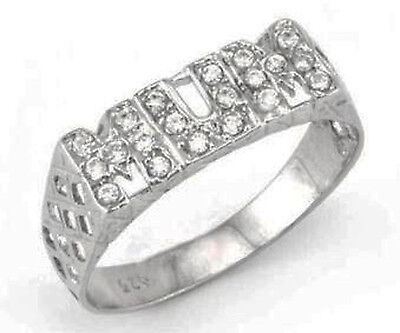 REDUCED TO CLEAR - Sterling Silver CZ Set Mum Ring In Gift Box - DISCOUNTED • 15£