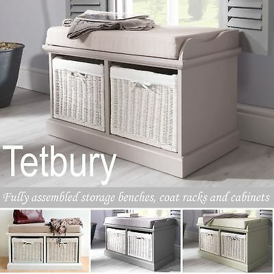 Tetbury Bench With 2 White Baskets. Hallway Storage Bench With Cushion.4 Colours • 135.99£
