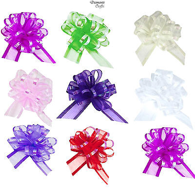 50mm Pull Organza Bows - Large - Wedding Car Decoration Gift Wrap Floristry • 1.95£