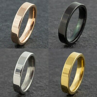4mm Stainless Steel Mens Womens Wedding Band Gold Silver Black New Ring M To Z • 4.99£