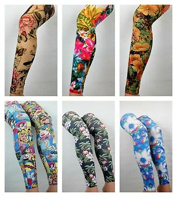 Patterned Tights Footless Printed Funky Alternative Tattoo  Suspender Quality   • 8.95£