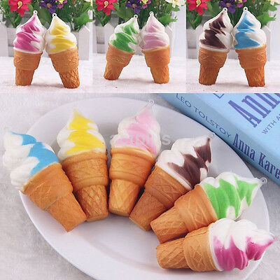 AU2.52 • Buy 1PCS Soft Jumbo Ice Cream Squishy Cellphone Kawaii Charms Straps Gifts Cool Hot