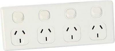 AU27.95 • Buy 4 Gang Single POLE GPO Power Point Quad Socket Outlet