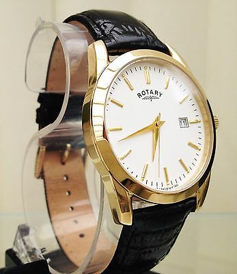 £69.99 • Buy ROTARY MENS GENT 9CT GOLD PLATED Lightweight Watch Black Leather RRP £180 Boxed