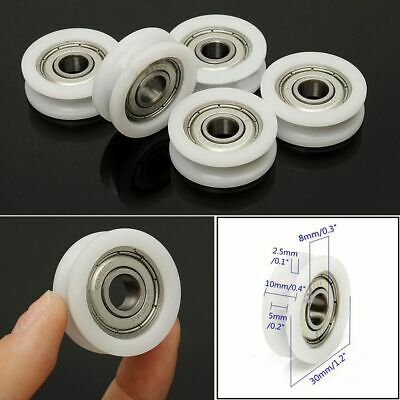 $3.17 • Buy 5pcs 8*30*10mm Nylon Plastic Embedded 608 U Groove Ball Bearing Guide Pulley Hot