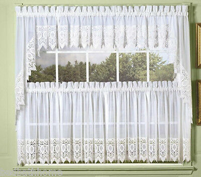$34.97 • Buy NEW Diana Sheer Voile Kitchen Curtain With Macrame Lace Trim - White