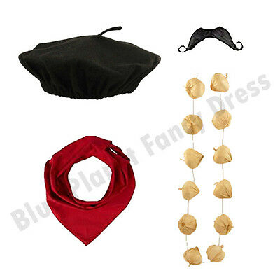 £2.49 • Buy Deluxe Mens French Man Stag Night Waiter Fancy Dress Costume Outfit Kit Lot