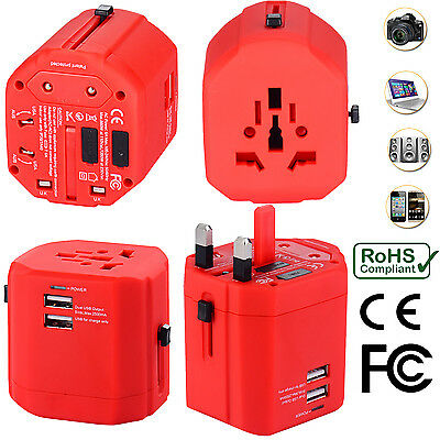 AU34.99 • Buy Universal World Travel Adapter With Dual USB Charger Wall AC Power -Red