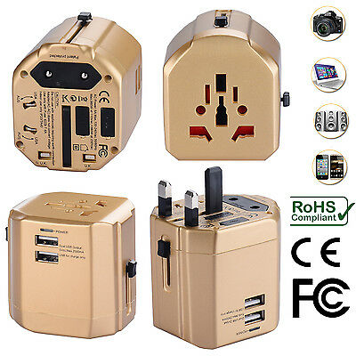 AU34.99 • Buy Universal World Travel Adapter With Dual USB Charger Wall AC Power -Gold