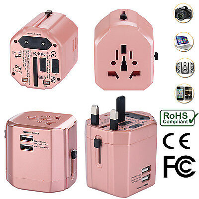 AU34.99 • Buy Universal World Travel Adapter With Dual USB Charger Wall AC Power -Rose Gold
