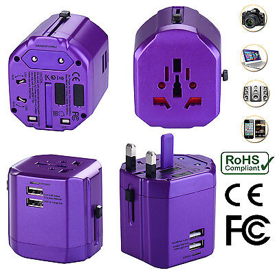 AU34.99 • Buy Universal World Travel Adapter With Dual USB Charger Wall AC Power -Purple