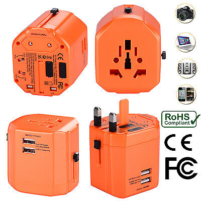 AU34.99 • Buy Universal World Travel Adapter With Dual USB Charger Wall AC Power - Orange