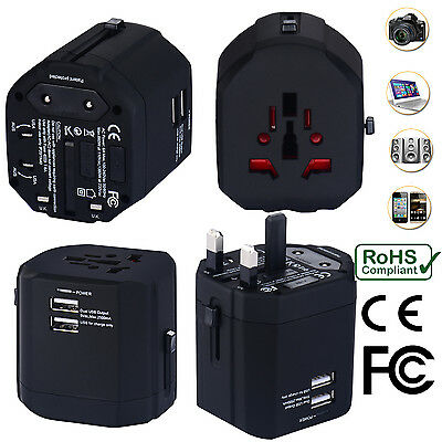AU34.99 • Buy Universal World Travel Adapter With Dual USB Charger Wall AC Power -Black