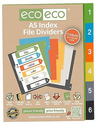 £3.18 • Buy A5 INDEX FILE FOLDER PLASTIC DIVIDERS SUBJECT 6 PART DIVIDERS Ecoeco RECYCLED