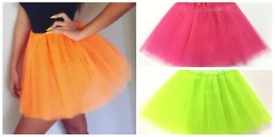 AU13 • Buy Tulle Tutu Skirt 80s Colour Women Costume Hot Pink Green Neon Fluro Orange