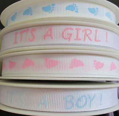 £2.30 • Buy 3 Metres  10mm Pink Blue White Baby Ribbon It's A Girl/ Boy Baby Shower